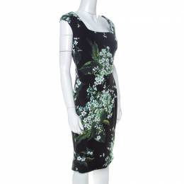 Dolce & Gabanna Black Floral Print Moss Crepe Cap Sleeve Sheath Dress S Dolce and Gabbana 225070