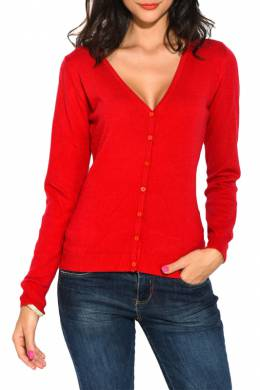 cardigan William De Faye WF753_ROUGE