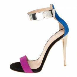 Giuseppe Zanotti Tricolor Suede And Leather Ankle Cuff Sandals Size 37.5 226231