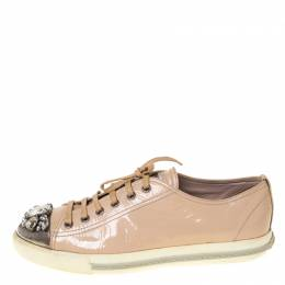 Miu Miu Beige Patent Leather Crystal Embellished Cap Toe Lace Up Sneakers Size 41 225806