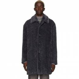 Grey Faux-Fur Coat Deveaux New York 192243M17600501GB