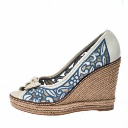 Tory Burch White/Blue Embroidered Leather Cutout Espadrille Wedges Pumps Size 41