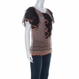 M Missoni Multicolor Wave Knit Ruffle Detail Short Sleeve Top S