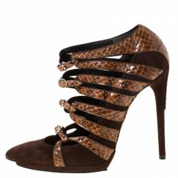 Balenciaga Brown Suede And Python Leather Strappy Pointed Toe Pumps Size 38.5 224948