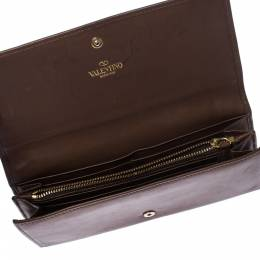 Valentino Brown Leather V Ring Flap Continental Wallet 224867