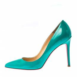 Christian Louboutin Green Patent Leather Pigalle Pointed Toe Pumps Size 40 226624