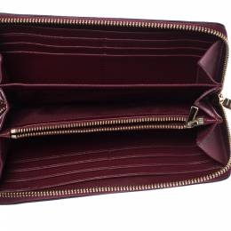 Coach Burgundy Leather Accordion Zip Wallet 226636