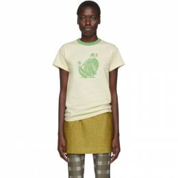 Lanvin Off-White and Green Printed T-Shirt RW-TO688I-TJ02-H19