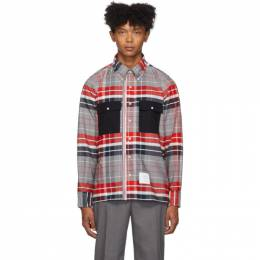 Thom Browne Red and Navy Zip-Up Norfolk Shirt MWL303A-05227