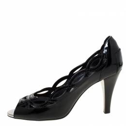 Tod's Black Patent Leather Laser Cut Peep Toe Pumps Size 37 Tod's