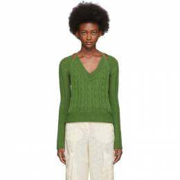 Jacquemus Green La Double Maille V-Neck Sweater 193KN05-193 81560