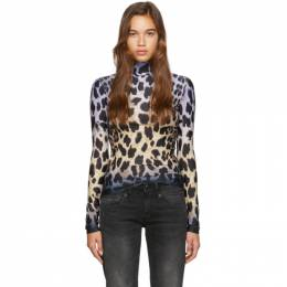 R13 Black and Off-White Faded Leopard Turtleneck 192021F09900402GB