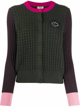 Kenzo - embroidered Eye colour-block cardigan 0CA58386695566663000