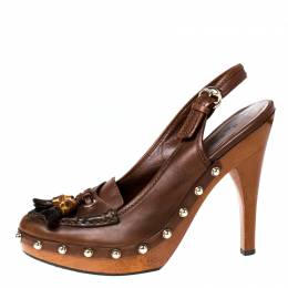 Gucci Brown Leather Tassel Loafer Slingback Clogs Size 38.5 226727