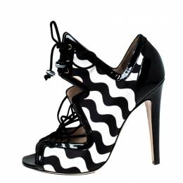 Nicholas Kirkwood Monochrome Satin And Patent Leather Cut Out Strappy Sandals Size 37 227343
