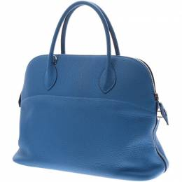 Hermes Blue Clemence Leather Palladium Bolide 37 Bag 227510