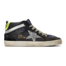 Golden Goose Deluxe Brand Black and Silver Glitter Mid Star Sneakers 192264F12702603GB