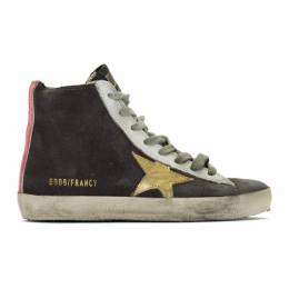 Golden Goose Deluxe Brand Grey and Gold Francy Sneakers 192264F12703104GB