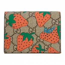 Gucci Brown and Red GG Strawberry Print Wallet 192451F04000901GB
