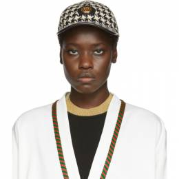 Gucci White and Black Houndstooth Baseball Cap 192451F01600601GB