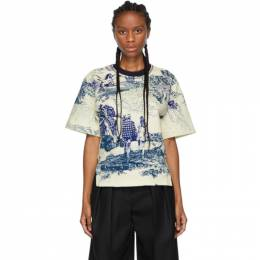 Chloe Off-White and Blue Toile De Jouy T-Shirt 192338F11000103GB