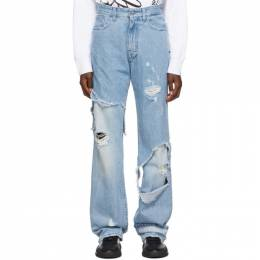 Raf Simons Blue Destroyed Relaxed-Fit Jeans 192287F06900101GB