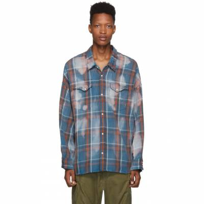 R13 Blue Oversized Plaid Cowboy Shirt R13M9022-165 - 1