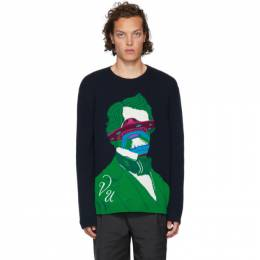 Valentino Navy Undercover Edition V Face UFO Sweater 192476M20400802GB