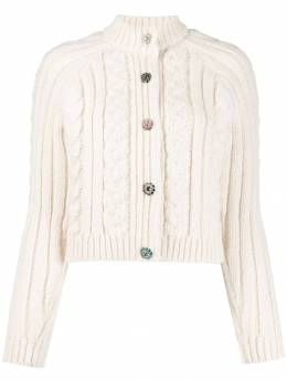 Ganni - crystal-embellished buttons cardigan 86955066530000000000