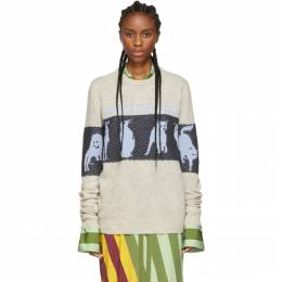 J.W. Anderson Off-White Jacquard Animal Sweater 192477F09600202GB