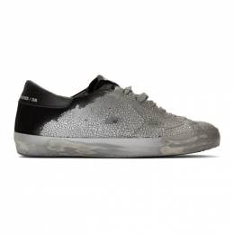 Golden Goose Deluxe Brand Silver and Black Suede Superstar Sneakers G35MS590.Q57
