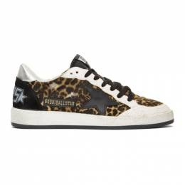 Golden Goose Deluxe Brand Tan and Black Calf-Hair Animalier Ball Star Sneakers G35MS592.A18
