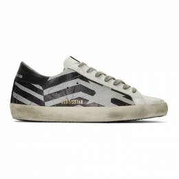 Golden Goose Deluxe Brand Silver and White Scotch Flag Superstar Sneakers G35MS590.Q66