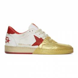 Golden Goose Deluxe Brand White and Gold Ball Star Sneakers G35MS592.A14