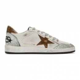 Golden Goose Deluxe Brand White and Brown Snake Ball Star Sneakers G35MS592.A17