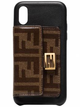 Fendi - black and brown FF wallet iPhone X case 638A9Z99505565500000