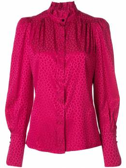 Isabel Marant - micro-pattern frill neck blouse 05899A603I9550065300