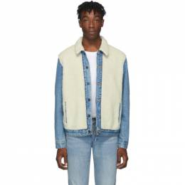 Levi's Blue and Off-White Sherpa Panel Trucker Jacket 192099M18000502GB