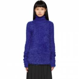 Juun.J Blue Fuzzy Knit Turtleneck JA9951F05P