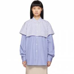Comme des Garcons Shirt Blue and White Striped Double Layer Shirt 192270F10901603GB