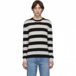 Eidos Black and White Striped Mohair Sweater Eidos 192223M20100205GB
