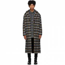 Faith Connexion Black and Yellow Tweed Oversized Long Coat 192848M17600404GB