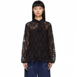 See by Chloe	 Black Pleated Lace Blouse 192373F10701201GB