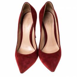 Gianvito Rossi Red Suede Pointed Toe Pumps Size 36 229252