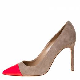 Manolo Blahnik Beige Suede And Pink Leather Bipunta Cap-Toe Pumps Size 36 229343