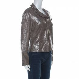 Armani Collezioni Grey-Green Leopard Embossed Lambskin Zip Up Cowl Neck Jacket M 228360