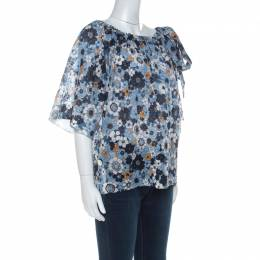 Chloe Blue Floral Print Cotton Gauze Bow Embellished Top S 229221