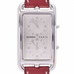 Hermes Silver Stainless Steel and Leather Cape Cot Duzon Women's Wristwatch 25x47MM 227953