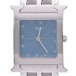 Hermes Light Blue Stainless Steel H Hour Ramsis HH1.510 Women's Wristwatch 30x35MM 227966