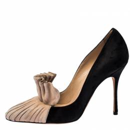 Manolo Blahnik Black and Beige Suede Arleti Frill Detail Pumps Size 36 229871